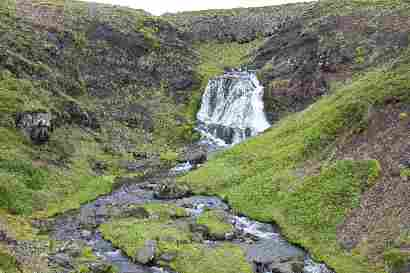 Waterfall at Rauðamelsölkelda