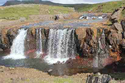 Double waterfall in Rauðsgil
