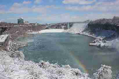 Niagara river, rainbow and Rainbow bridge