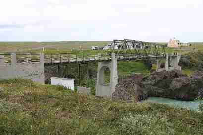 Old bridge over Skjálfandafljót at Goðafoss
