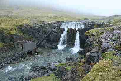 Waterfall 1 and old power station in Þorgeirsstaðaá