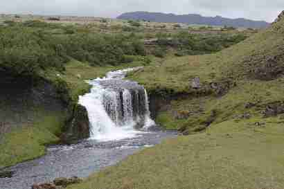 Waterfall in Selsundslæk and Selsundsfjall